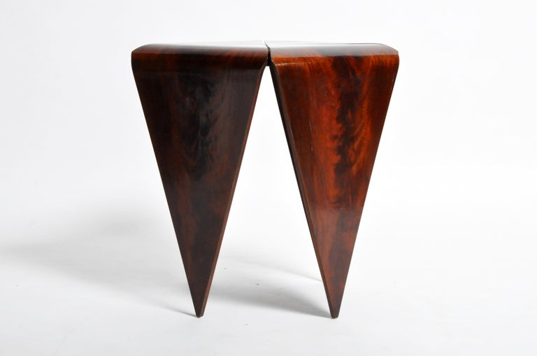 French Mahogany Veneer Side Table in the Style of Jorge Zalszupin For Sale 12