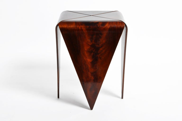 Contemporary French Mahogany Veneer Side Table in the Style of Jorge Zalszupin For Sale