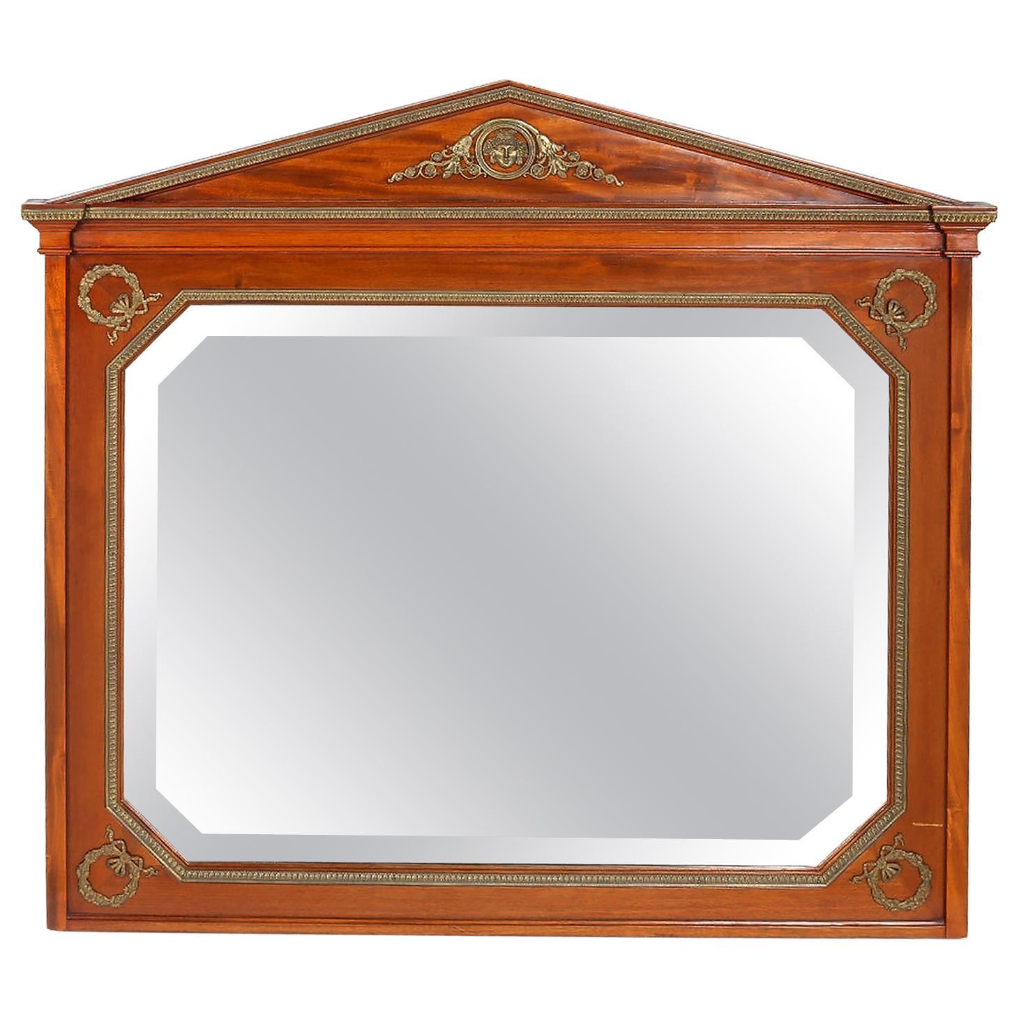 French Mahogany Wood Framed Beveled Wall Mirror