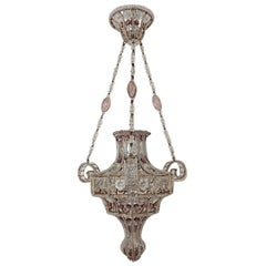 French Maison 1940s Baguès Amethyst and Clear Amazing Beaded Crystal Chandelier