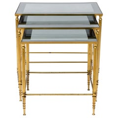 French Maison Baguès Brass Set of 3 Nesting Tables, 1960s