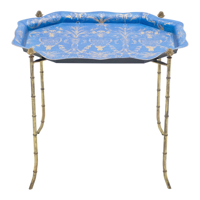 French Maison Baguès Bronze Blue Tray Table, 1960