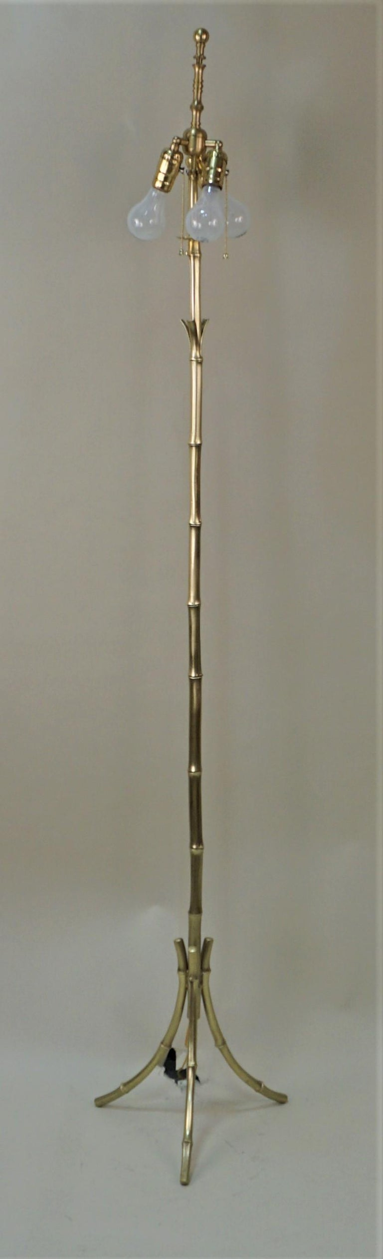 Mid-20th Century French Maison Baguès Bronze Floor Lamp For Sale