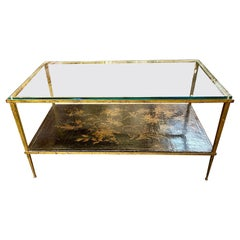French Maison Baguès Chinoiserie and Gilt Steel Coffee Table