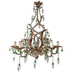 French Maison Baguès Flower Green Bells Spears Beaded Helix Tole Chandelier