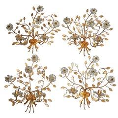 French Maison Baguès Set of Four Huge Flower Floral Crystal Sconces