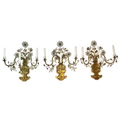 French Maison Baguès Set of Three Floral Spray Sconces