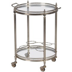 French Maison Bagues Silver Metal Bar Cart, 1950s