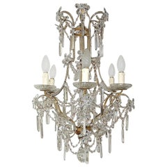 French Maison Bagues Style Beaded Crystal Prisms and Flowers Chandelier