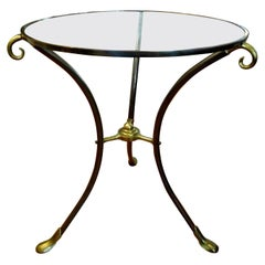 French Maison Baguès Style Brass Table or Guéridon with Glass Top