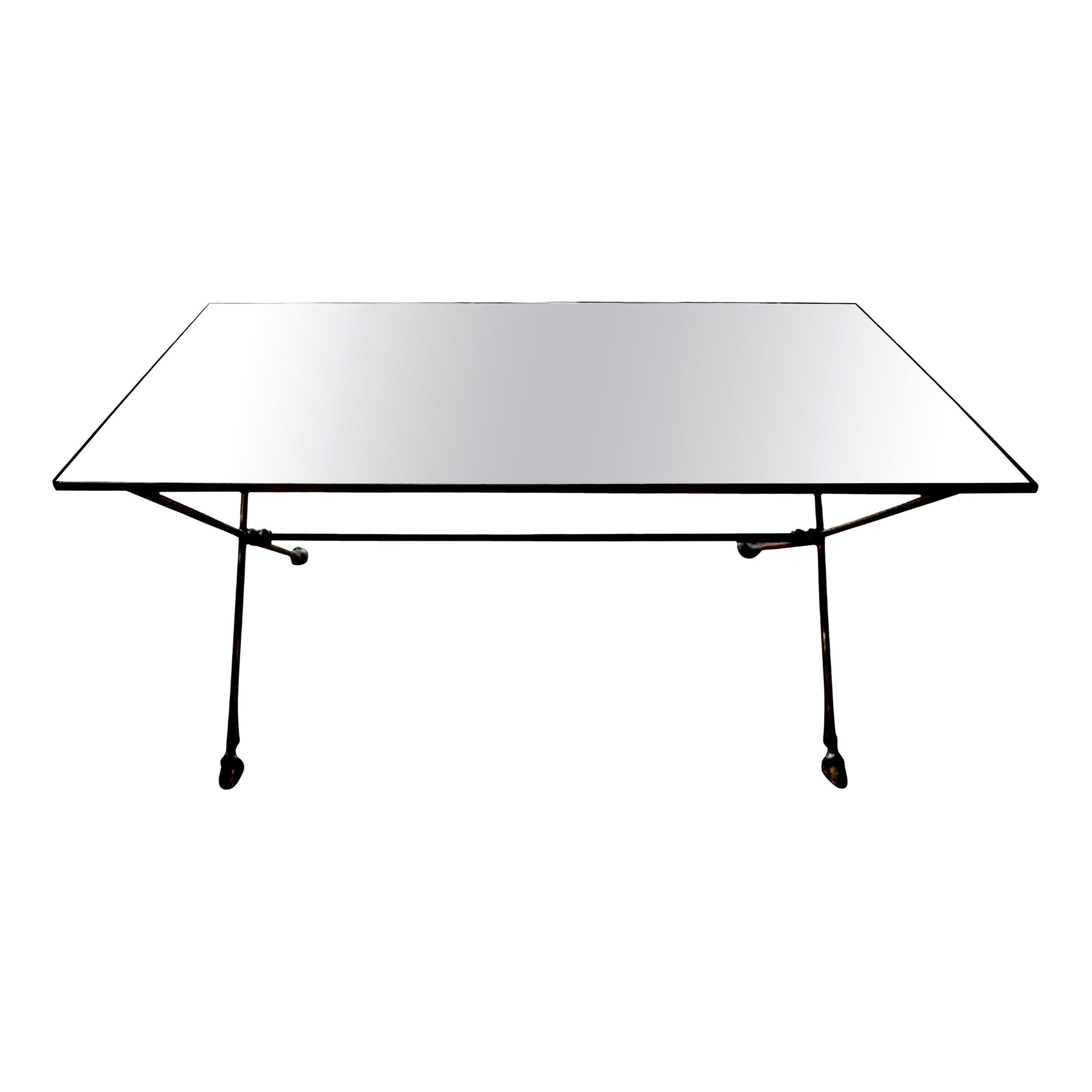 French Maison Baguès Style Bronze Cocktail Table with Mirrored Top