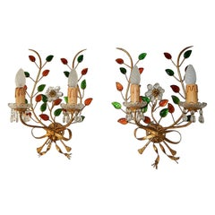 French Maison Baguès Style Colored Leaves Floral Beaded Bows Sconces