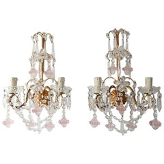 French Maison Baguès Style Crystal Pink Ribbon Murano Glass Sconces