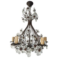 French Maison Baguès Style Crystal Prisms Flowers Bronze Chandelier, circa 1930