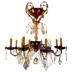 French Maison Baguès Style Eight-Light Crystal Chandelier
