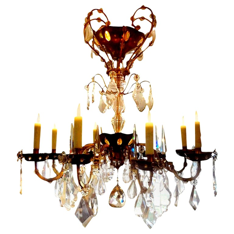 French Maison Baguès Style Eight-Light Crystal Chandelier For Sale