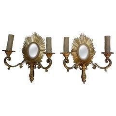 French Maison Baguès Style Gilt Bronze Sunburst Sconces