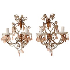 French Maison Baguès Style Pink Floral Crystal Sconces, circa 1920