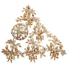 French Maison Baguès Style Set of Five Huge Flower Crystal Sconces & Chandelier