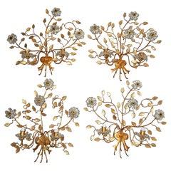 French Maison Baguès Style Set of Four Huge Flower Floral Crystal Sconces