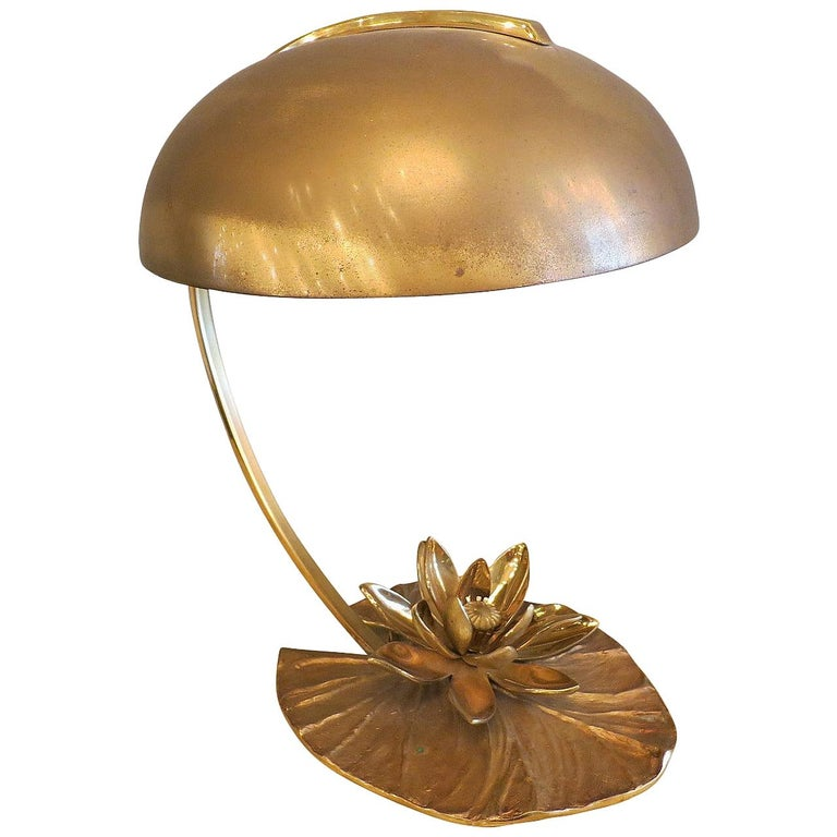 French Maison Charles Bronze Lily Table Lamp For Sale