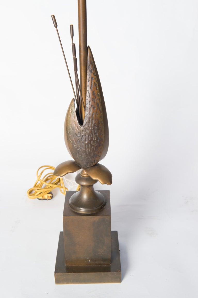 French brass organic pod Maison Charles style table lamp. Two sockets. Rewired.