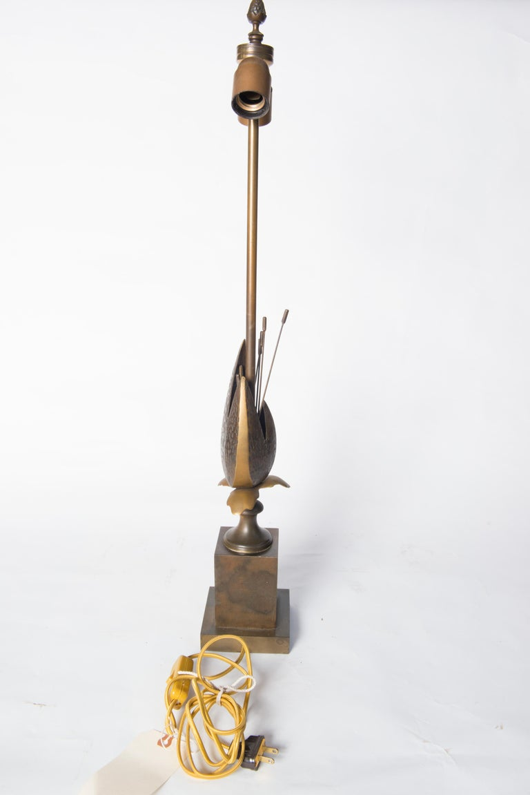 Mid-20th Century French Maison Charles Style Bronze Pod Lamp For Sale