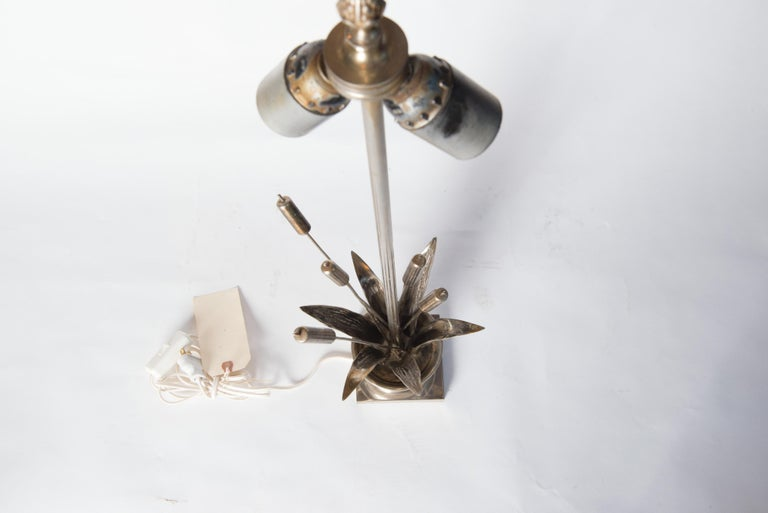 French Maison Charles style Bulrush Silver Lamp For Sale 5