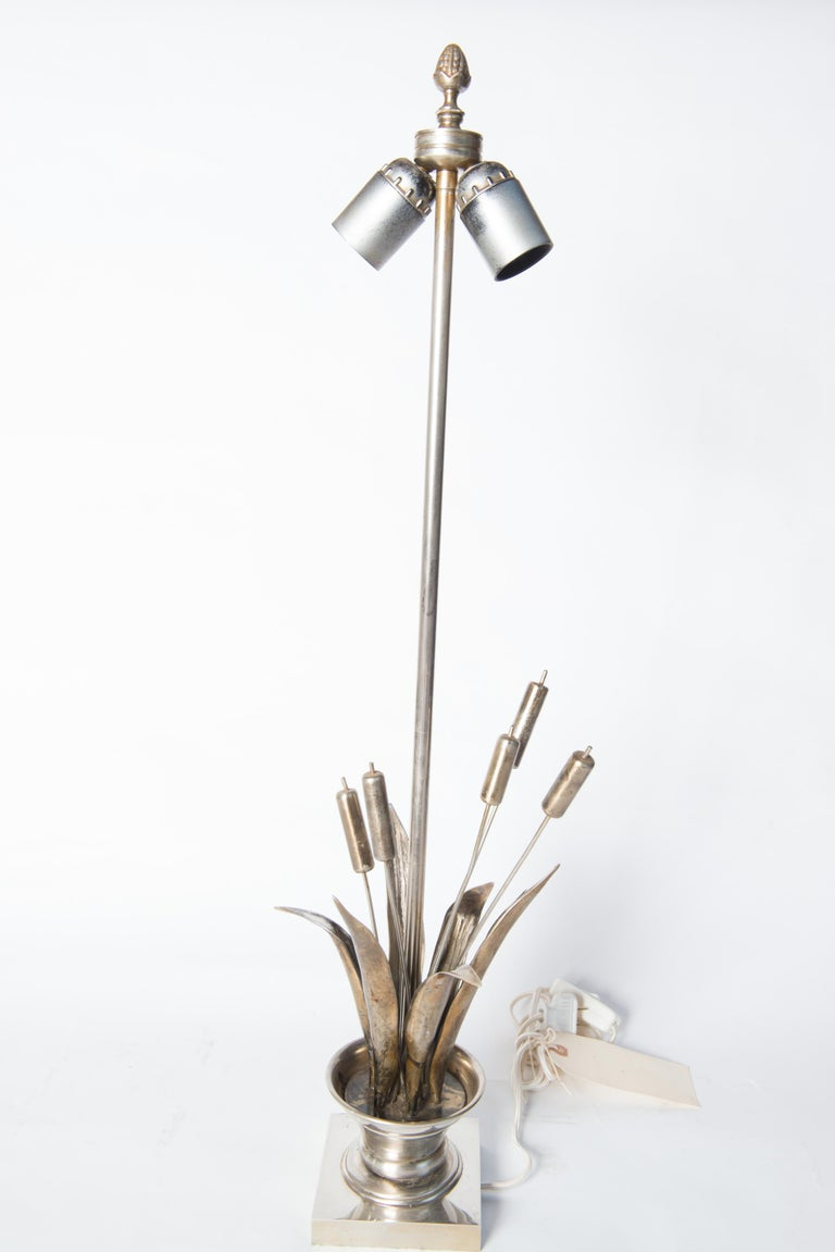 Metal French Maison Charles style Bulrush Silver Lamp For Sale