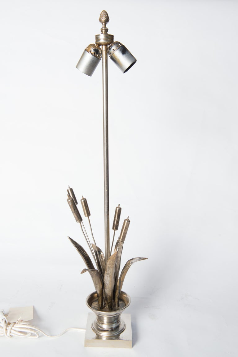 French Maison Charles style Bulrush Silver Lamp For Sale 4