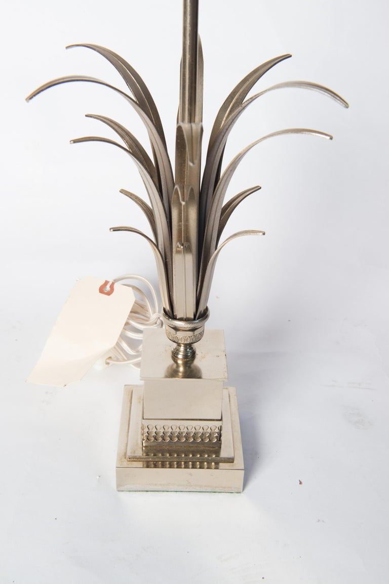 Steel frond French table lamp in the style of Maison Charles. Three sockets. 4 inch square base. Rewired.