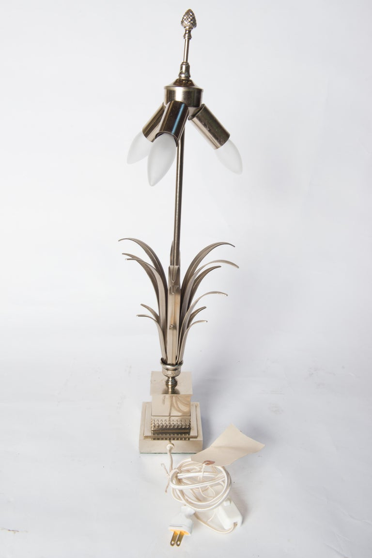 Mid-20th Century French Maison Charles Style Silvertone Frond Lamp For Sale