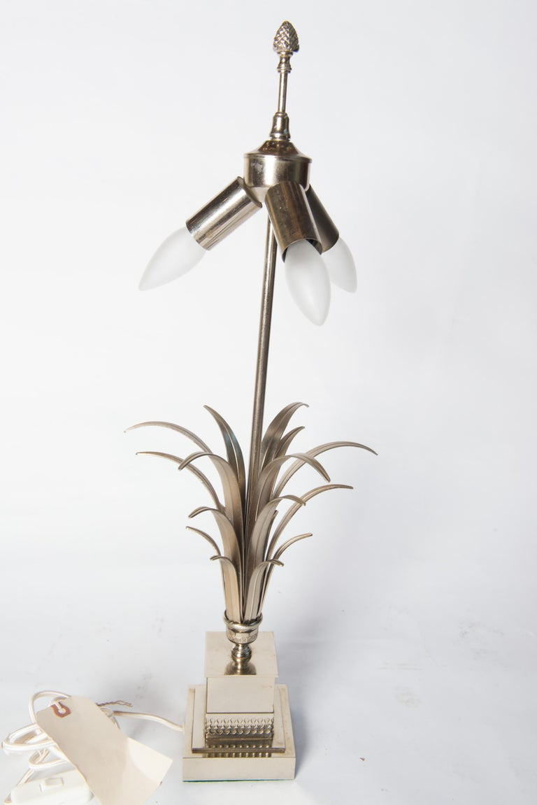 French Maison Charles Style Silvertone Frond Lamp For Sale 2