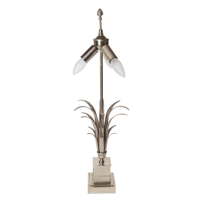 French Maison Charles Style Silvertone Frond Lamp For Sale
