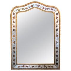 French Maison Jansen 1940s Églomisé and Giltwood Wall Mirror