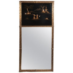 French Maison Jansen Chinoiserie Trumeau Mirror, Gilt Bamboo Border