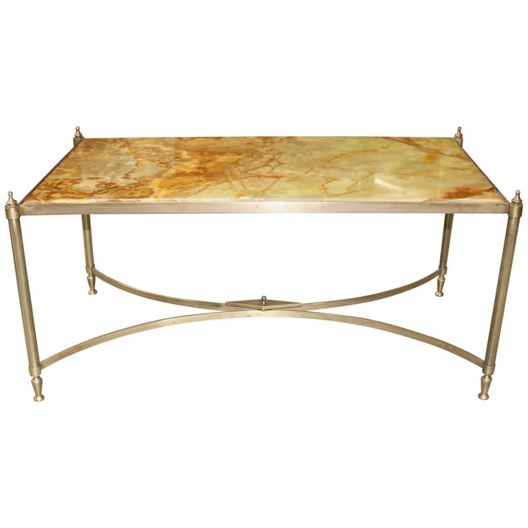 French Maison Jansen Coffee or Cocktail Table Bronze Rectangular with Onyx Top For Sale