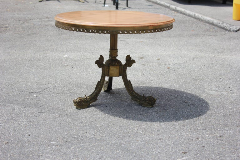 Art Deco French Maison Jansen ''Fish Leg'' Round Coffee or Cocktail Table Bronze For Sale
