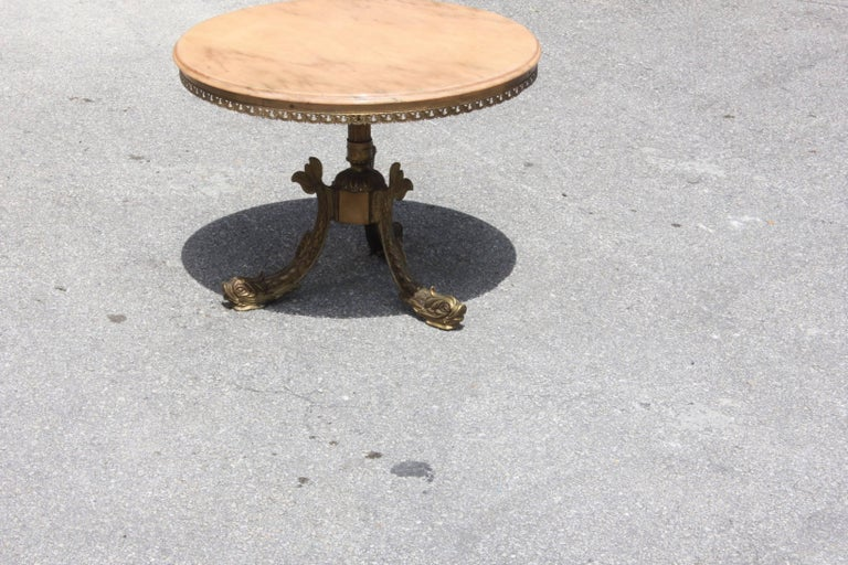 Mid-20th Century French Maison Jansen ''Fish Leg'' Round Coffee or Cocktail Table Bronze For Sale