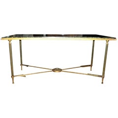 French Maison Jansen Neoclassical Style Gilt Iron Arrow Cocktail Table