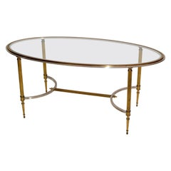 French Maison Jansen Oval Glass, Brass & Steel Coffee Table Neoclassical, 1960s