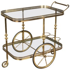 French Maison Jansen Style Brass Bar Cart