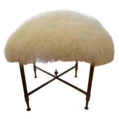 French Maison Jansen Style Brass Bench Upholstered in White Curly Lambs Wool