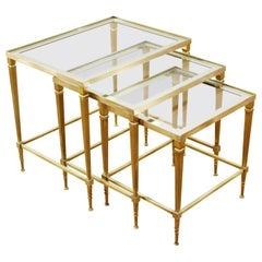 French Maison Jansen Style Brass and Glass Top Nesting Tables