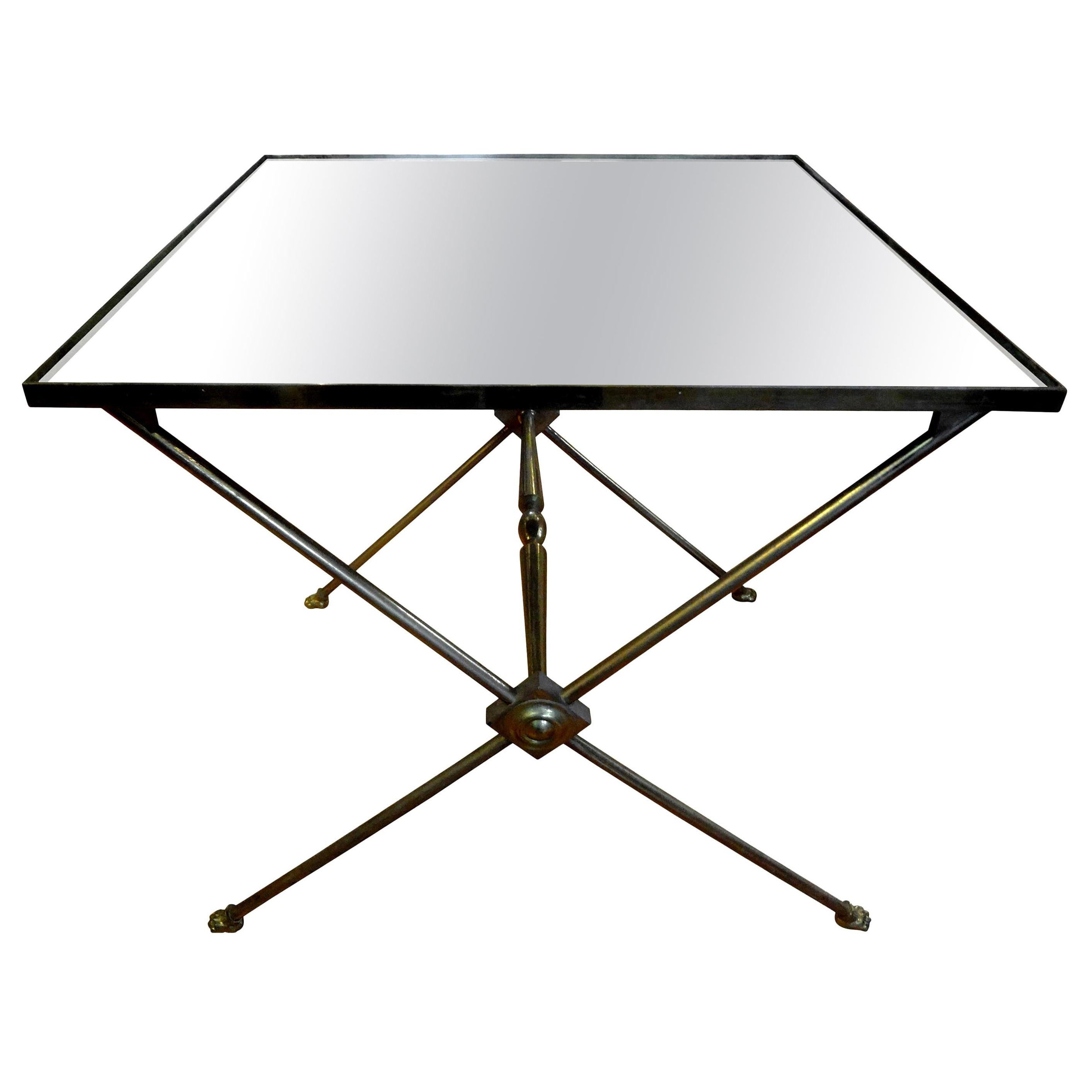 French Maison Jansen Style Brass Table with Mirrored Top