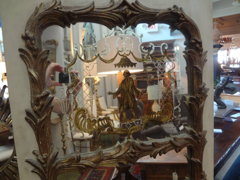 French Maison Jansen Style Chinoiserie Eglomise Mirror, circa 1920 In Good Condition For Sale In Houston, TX
