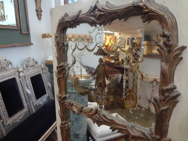French Maison Jansen Style Chinoiserie Eglomise Mirror, circa 1920 For Sale 2