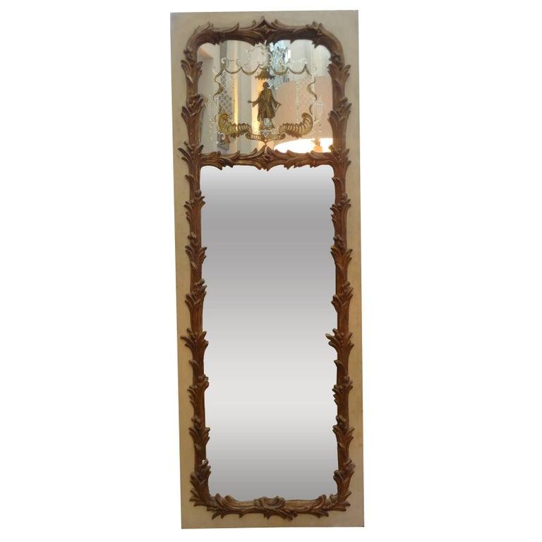 French Maison Jansen Style Chinoiserie Eglomise Mirror, circa 1920 For Sale