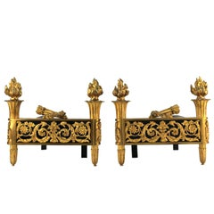 French Maison Jansen Style Directoire Andirons in Gilded Bronze