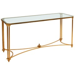 French Maison Jansen Style Gilt Bronze and Glass Console Table, circa 1970